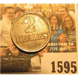 "1595 _ ""Theilheimer y Mathieu/Las/Harmonias/Chicacao/Guatemala"", ""2/Reales""  token, br., 20mm. Unkno"