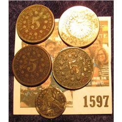 1597 _ 1866, (2) 1867, & 1873 U.S. Shield Nickels; & 1840 Silver Seated Liberty Half Dime.