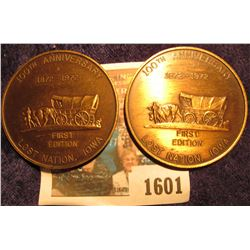 """1601 _ Pair of 1872-1972 100th Anniversary """"First Edition"""" countermarked Lost Nation, Iowa Centennia"""