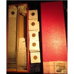 "1605 _ Red 14"" Double Row Stock Box 75% full of carded, ready for Flea Market 1953-55 era Wheat Cent"