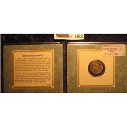 1612 _ 1883 NC Genuine Gold-plated Racketeer Nickel in a fancy holder.