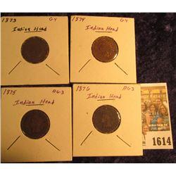 1614 _ 1873, 1874, 1875, & 1876 Indian Head Cents. AG-G.