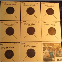 1618 _ 1865, 82, 83, 89, 93, 97, 99, & 1908 Indian Head Cents. Grading up to VG.