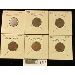 1619 _ 1879, 86, 96, 1901, 05, & 09  Indian Head Cents. Grading up to VG.