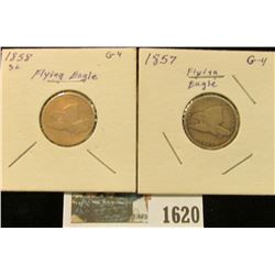 1620 _ 1857 & 1858 U.S. Flying Eagle Cents.