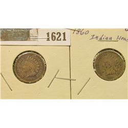 1621 _ 1859 & 1860 Indian Head Cents. Good.