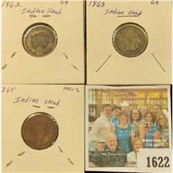 1622 _ 1862 & 1863 Copper-nickel & 1864 Bronze Civil war Era Indian Head Cents.