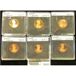 1647 _ 1990D BU, 2010S, 2011S, 12S, 13S, & 14S Proof Lincoln Cents in special holders.