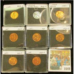 1649 _ 1943S Circ., 51S, 52D, 53P, D, S, 55S, & 56D BU Lincoln Cents in special holders.