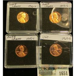 1651 _ 1969S, 75S, 76S, & 77S Proof Lincoln Cents in special holders.