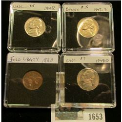 1653 _ 1947 S BU, 48P BU, & D BU Jefferson Nickels; & 1880 Indian Head Cent in EF. All in Special ho