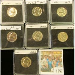 1657 _ 1954P, D, S, 55P, D, 56P, & D Jefferson Nickels. All Gem BU and stored in special holders.