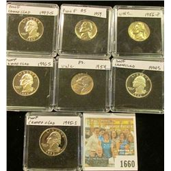 1660 _ 1956P Gem BU, 59P Gem BU & Proof Jefferson Nickels; 1994S, 95S, 96S, & 97S Gem Cameo Proof Wa