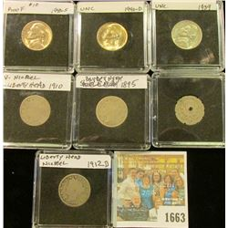 1663 _ Shield Type Holed, 1895, 1910, 1912 D 1939 1940 S 1940 D Nickels. All stored in special holde