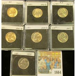 1664 _ (2) 1941 P, (1) D, S, 42D, 46S, & 47P Jefferson Nickels, all Gem BU and stored in special hol