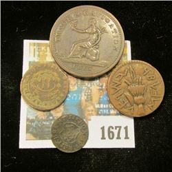 1671 _ (4) Old Copper Coins, including dates 1753, , 1813, & 1861.