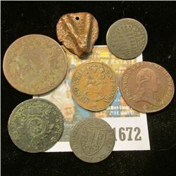 1672 _ (7) Old Copper Coins some with dates including 1705, 1769, 1800, 1825, 1836, & 1859.