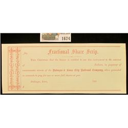 "1674 _ 1860 ""Fractional Share Scrip…Preferred Stock of the Dubuque & Sioux City Railroad Company"". M"