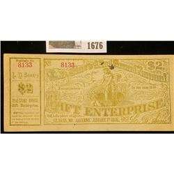 "1676 _ 1876 Scrip ""L.D. Sine's 22nd Grand Annual Gift Enterprise"" Two Dollar note, Serial No. 8133."