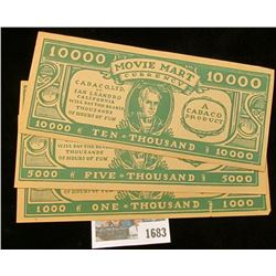 "1683 _ Three-Piece Set. 1930 era ""Movie Mart Currency…Cadaco, Ltd. of San Leandro California Will Pa"