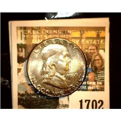 "1702 _ 1955 P ""Bugs Bunny"" Variety Franklin Half Dollar, CH BU 64 FBL. Lovely toning."