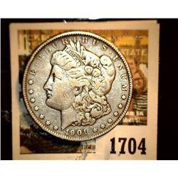 1704 _ 1901 P U.S. Silver Morgan Dollar, Fine.