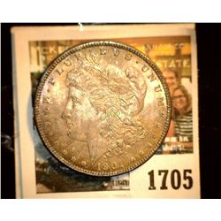 1705 _ 1901 O U.S. Silver Morgan Dollar, Gem BU 65, Fantastic toning.