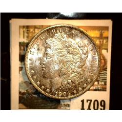 1709 _ 1904 O U.S. Silver Morgan Dollar, Choice BU 63. Superb toning.