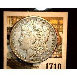 1710 _ 1904 S U.S. Silver Morgan Dollar, Fine.