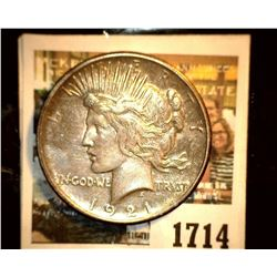 1714 _ 1921 P U.S. Silver Peace Dollar, Choice AU. Gold toning.