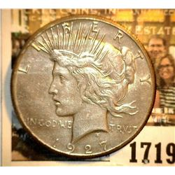 1719 _ 1927 P U.S. Silver Peace Dollar, light toning, EF.
