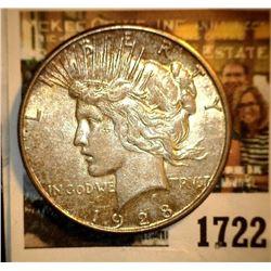 1722 _ 1928 S U.S. Silver Peace Dollar, EF.
