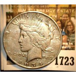 1723 _ 1934 S U.S. Silver Peace Dollar, Fine, reverse scratch.