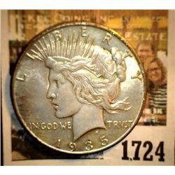 1724 _ 1935 P U.S. Silver Peace Dollar, AU.