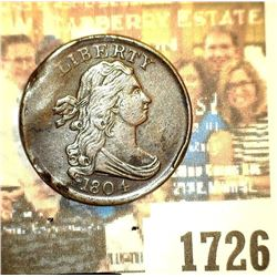 1726 _ 1804 U.S. Draped Bust Half Cent, Plain 4, Stemless Wreath, high grade, but bent and damaged.