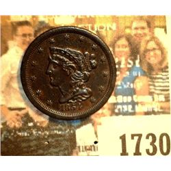1730 _ 1854 U.S. Half Cent, AU+, dark Brown.