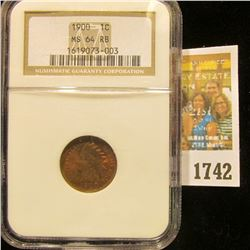 1742 _ 1900 Indian Head Cent NGC slabbed MS 64 RB.