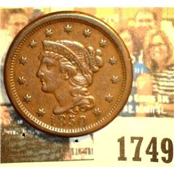 1749 _ 1850 U.S. Large Cent, Brown EF.