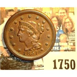 1750 _ 1851 U.S. Large Cent, Brown Uncirculated. Originally purchased in someone's Auction #658 as ""