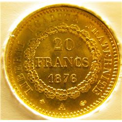 """""""1808_1876 A Gem BU :""""""""The Lucky Gold Angel French 20 Franc Gold Coin"""""""" mounted in a special prote"""