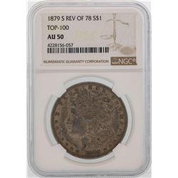 1879-S Reverse of 78' $1 Morgan Silver Dollar Coin NGC AU50 TOP 100