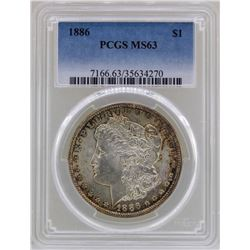 1886 $1 Morgan Silver Dollar Coin PCGS MS63