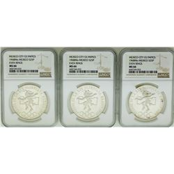 Lot of (3) 1968MO 25 Pesos Mexico City Olympics Silver Coins NGC MS66