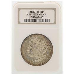 1880-CC Reverse of 1878 $1 Morgan Silver Dollar Coin NGC MS63