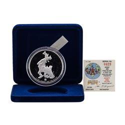 1988 Rarities Mint Walt Disney Goofy & Pluto 5 oz .999 Silver Coin w/Box & COA