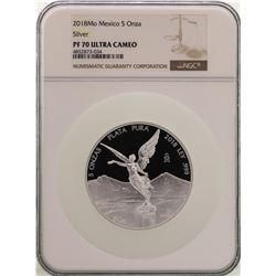 2018Mo Mexico 5 Onza Libertad Silver Proof Coin NGC PF70 Ultra Cameo
