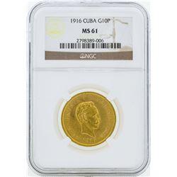 1916 Cuba 10 Pesos Gold Coin NGC MS61