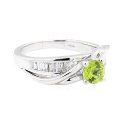 14KT White Gold Lady's 1.20 ctw Peridot and Diamond Ring