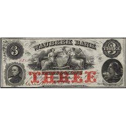 1857 $3 Waubeek Bank De Soto, NB Obsolete Note