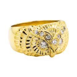 18KT Yellow Gold 0.25 ctw Diamond Owl Motif Ring